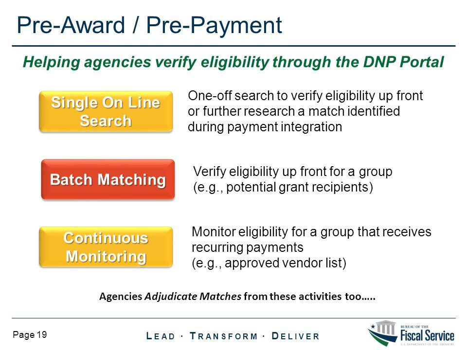 Pre-Award / Pre-Payment