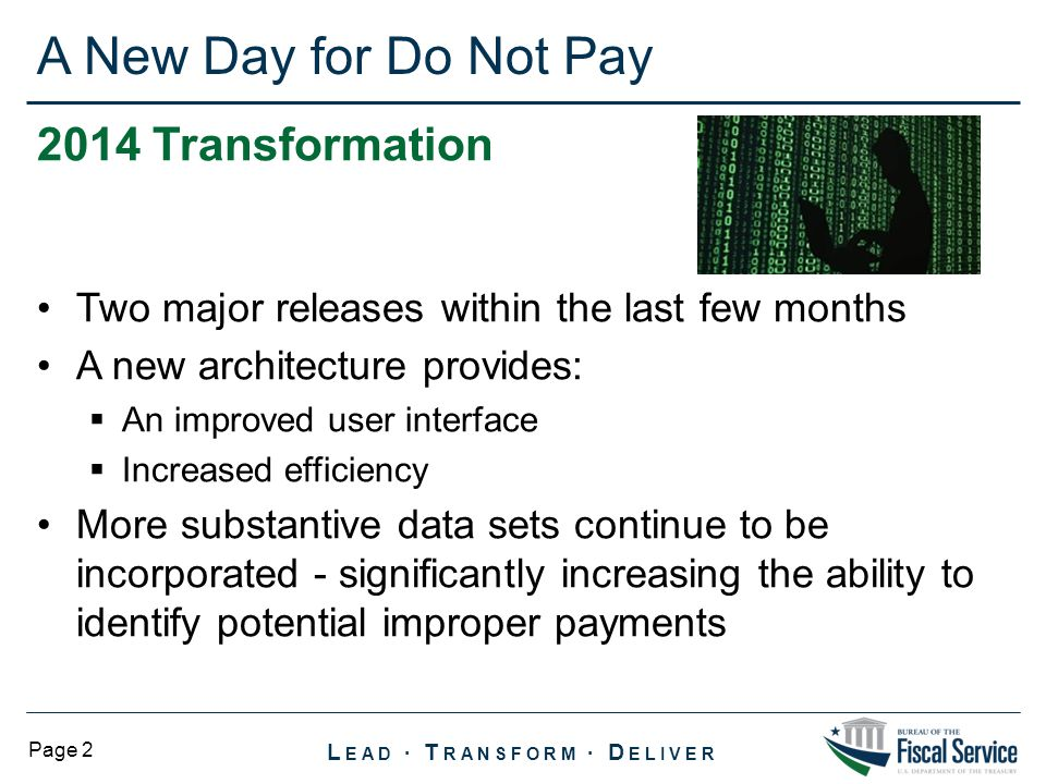 A New Day for Do Not Pay 2014 Transformation