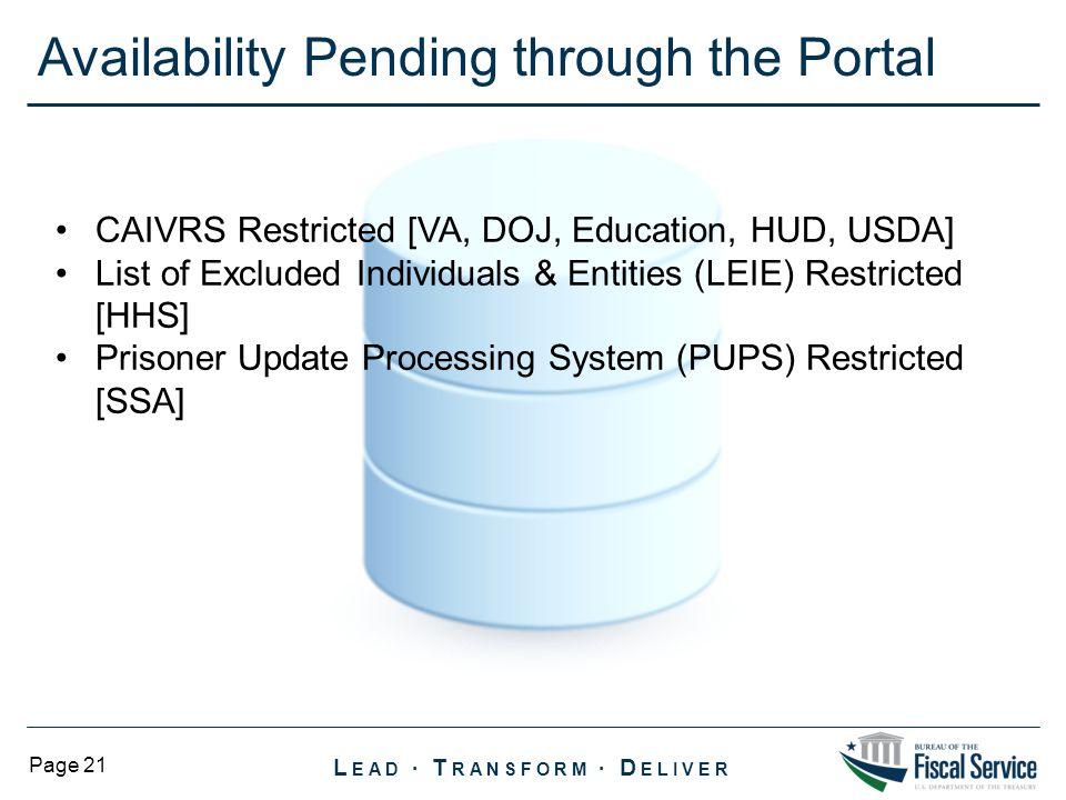 Availability Pending through the Portal
