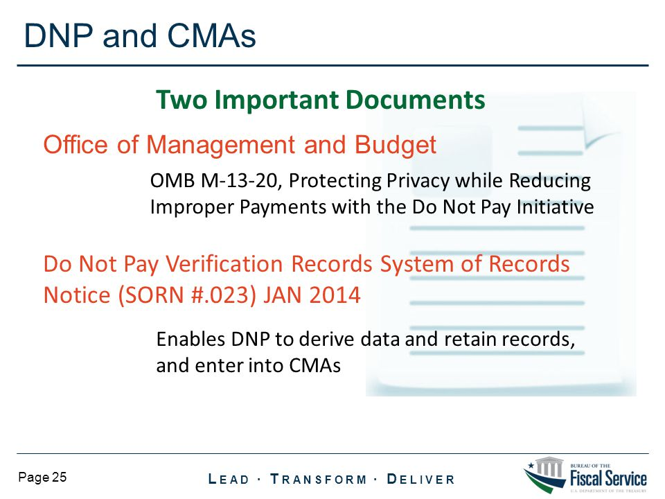 DNP and CMAs Two Important Documents Office of Management and Budget