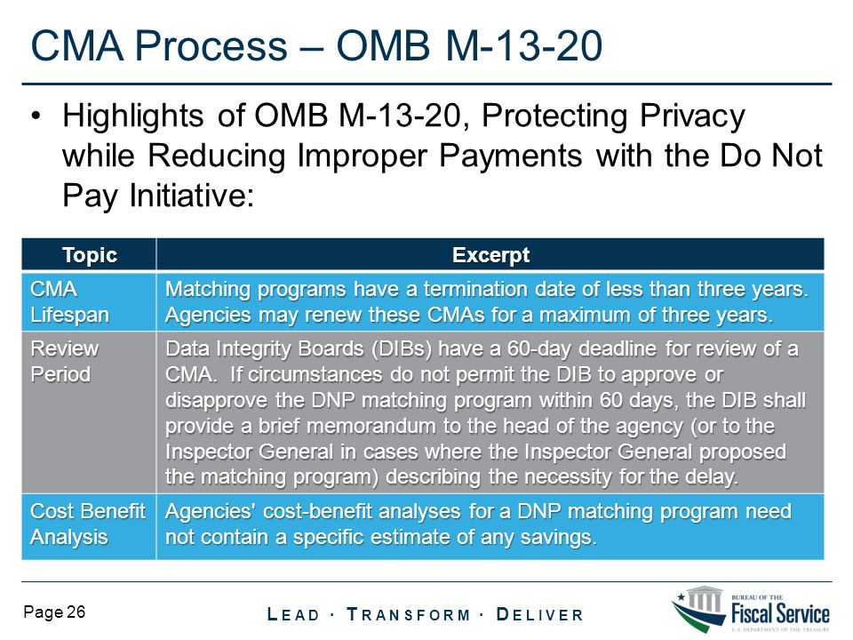 CMA Process – OMB M-13-20 Highlights of OMB M-13-20, Protecting Privacy while Reducing Improper Payments with the Do Not Pay Initiative:
