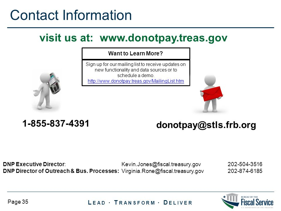 visit us at: www.donotpay.treas.gov