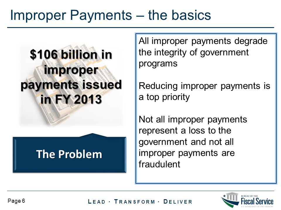 $106 billion in improper payments issued in FY 2013