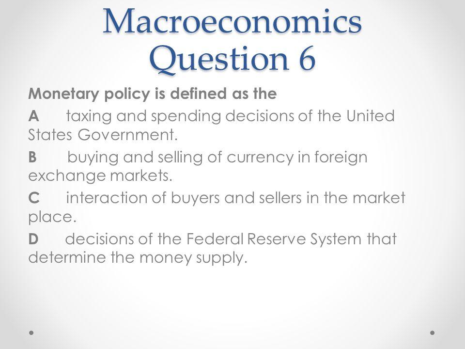Macroeconomics Question 6