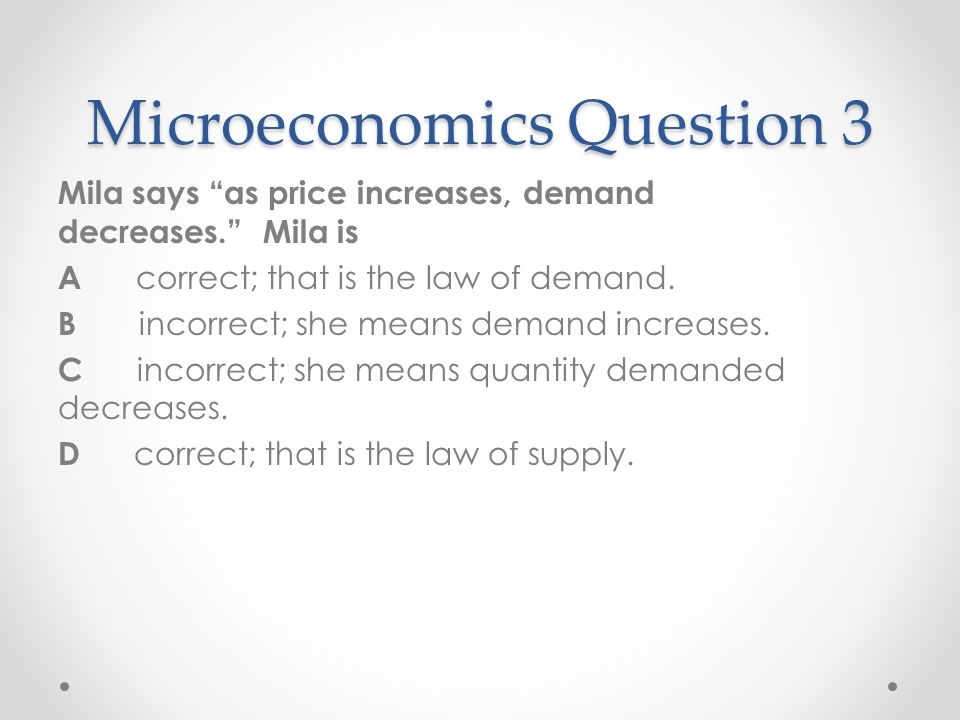 Microeconomics Question 3