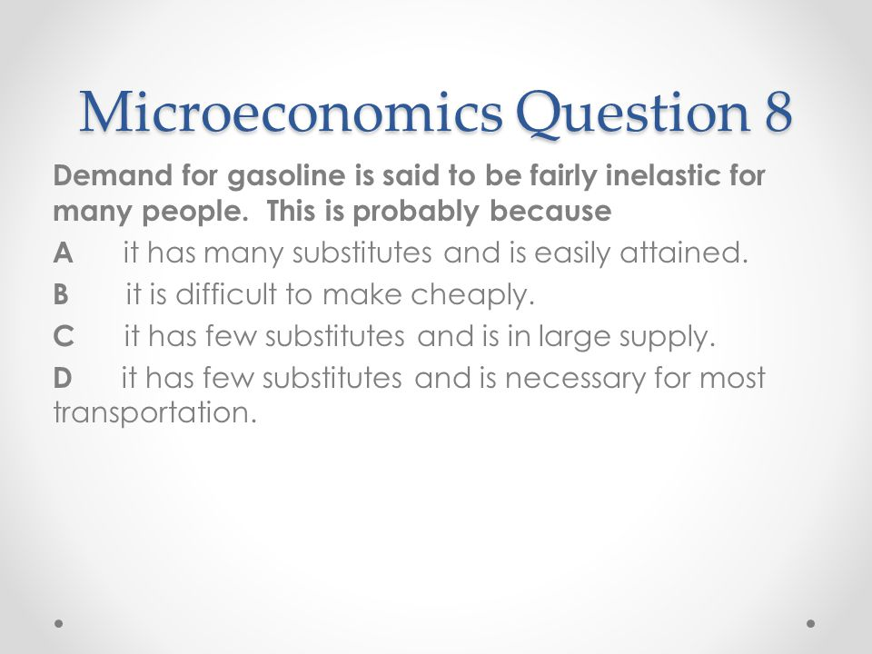 Microeconomics Question 8