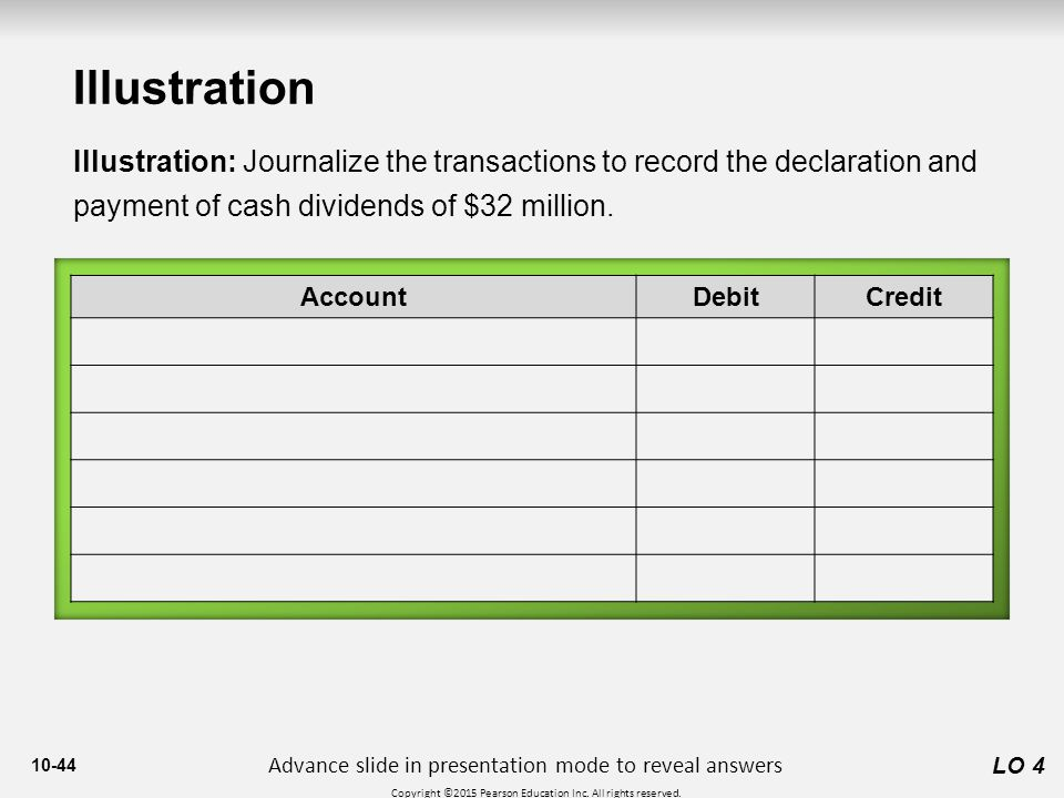 Illustration Illustration: Journalize the transactions to record the declaration and payment of cash dividends of $32 million.