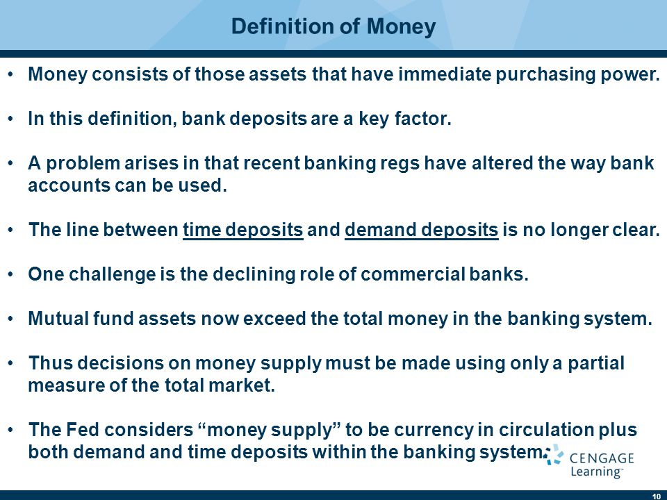 Definition of Money Money consists of those assets that have immediate purchasing power. In this definition, bank deposits are a key factor.