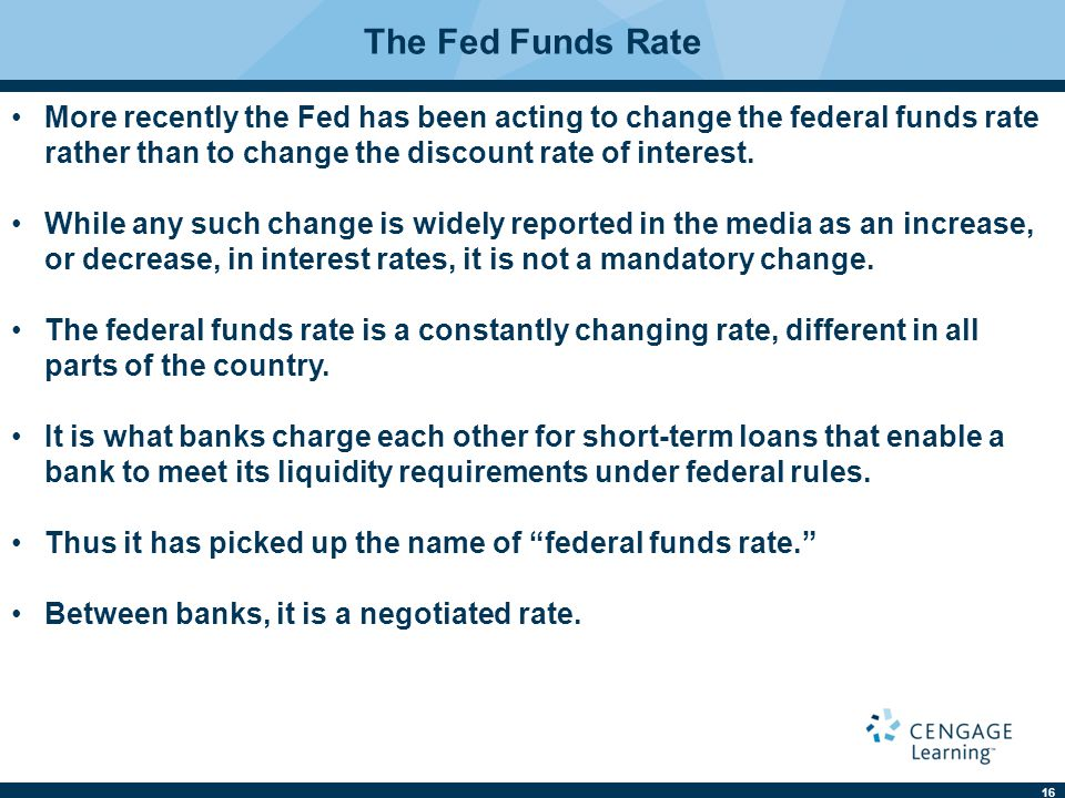 The Fed Funds Rate More recently the Fed has been acting to change the federal funds rate rather than to change the discount rate of interest.