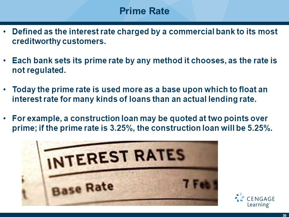 Prime Rate Defined as the interest rate charged by a commercial bank to its most creditworthy customers.