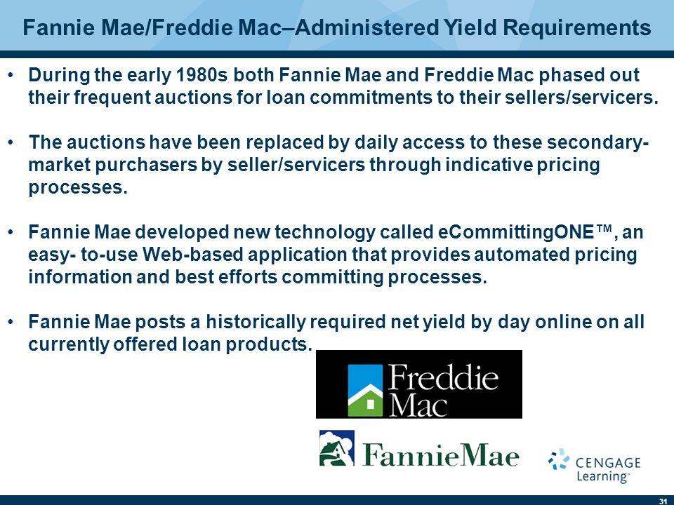 Fannie Mae/Freddie Mac–Administered Yield Requirements