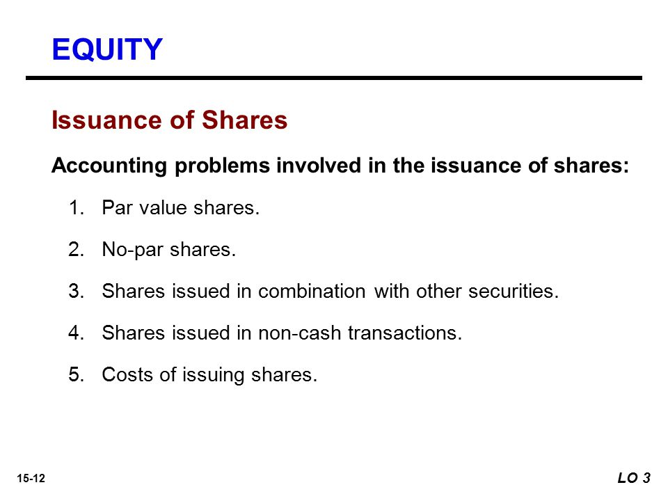 EQUITY Issuance of Shares