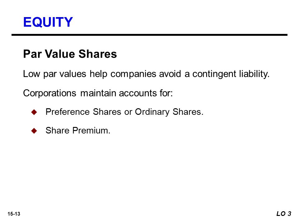 EQUITY Par Value Shares