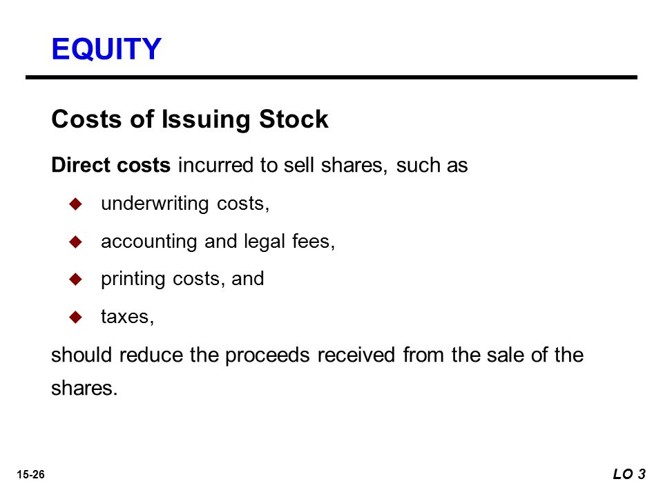 EQUITY Costs of Issuing Stock