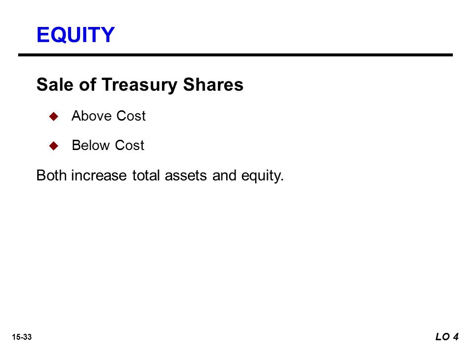 EQUITY Sale of Treasury Shares Both increase total assets and equity.