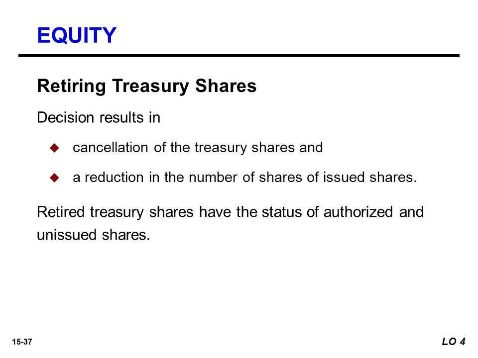 EQUITY Retiring Treasury Shares Decision results in