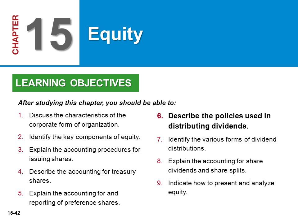 15 Equity LEARNING OBJECTIVES