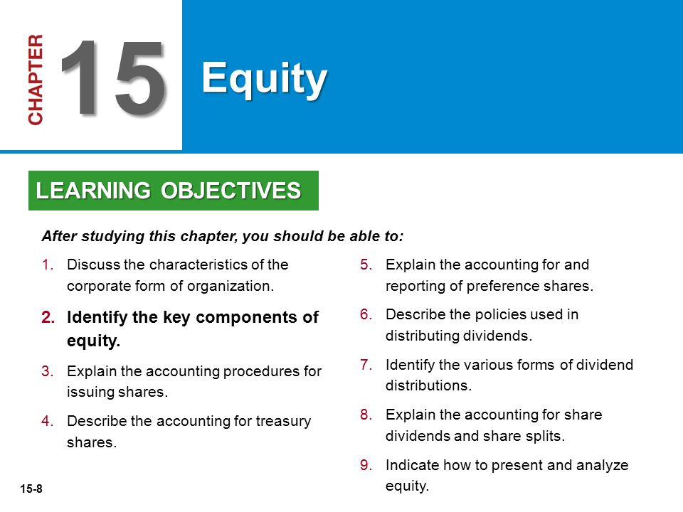 15 Equity LEARNING OBJECTIVES Identify the key components of equity.