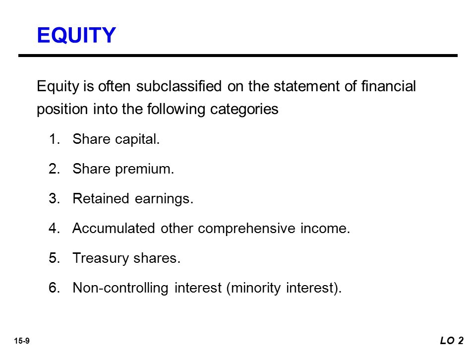 EQUITY Equity is often subclassified on the statement of financial position into the following categories.