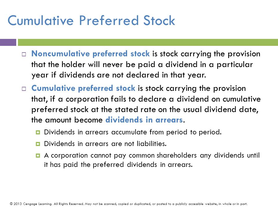 Cumulative Preferred Stock