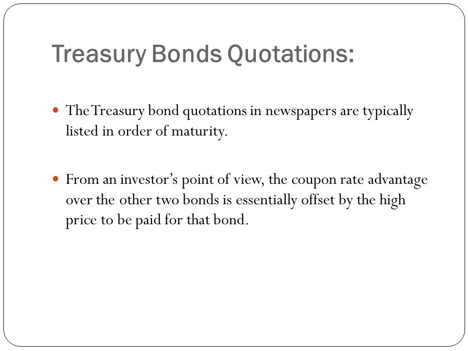 Treasury Bonds Quotations: