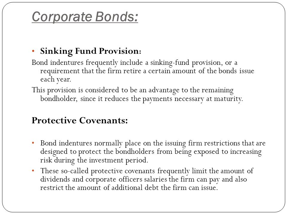 Corporate Bonds: Protective Covenants: Sinking Fund Provision: