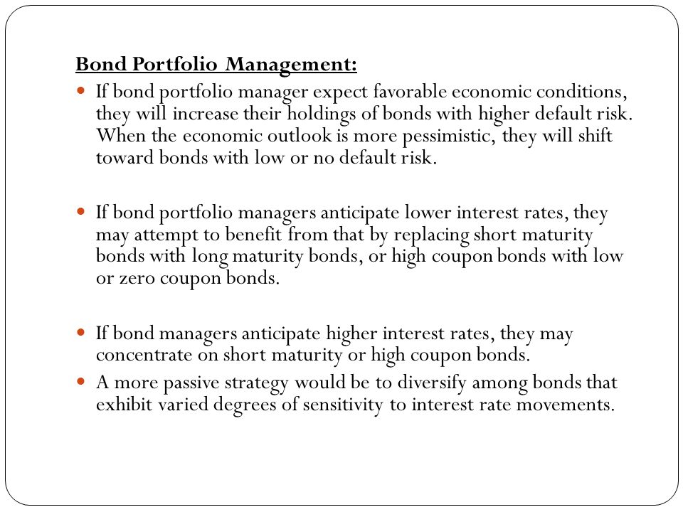 Bond Portfolio Management:
