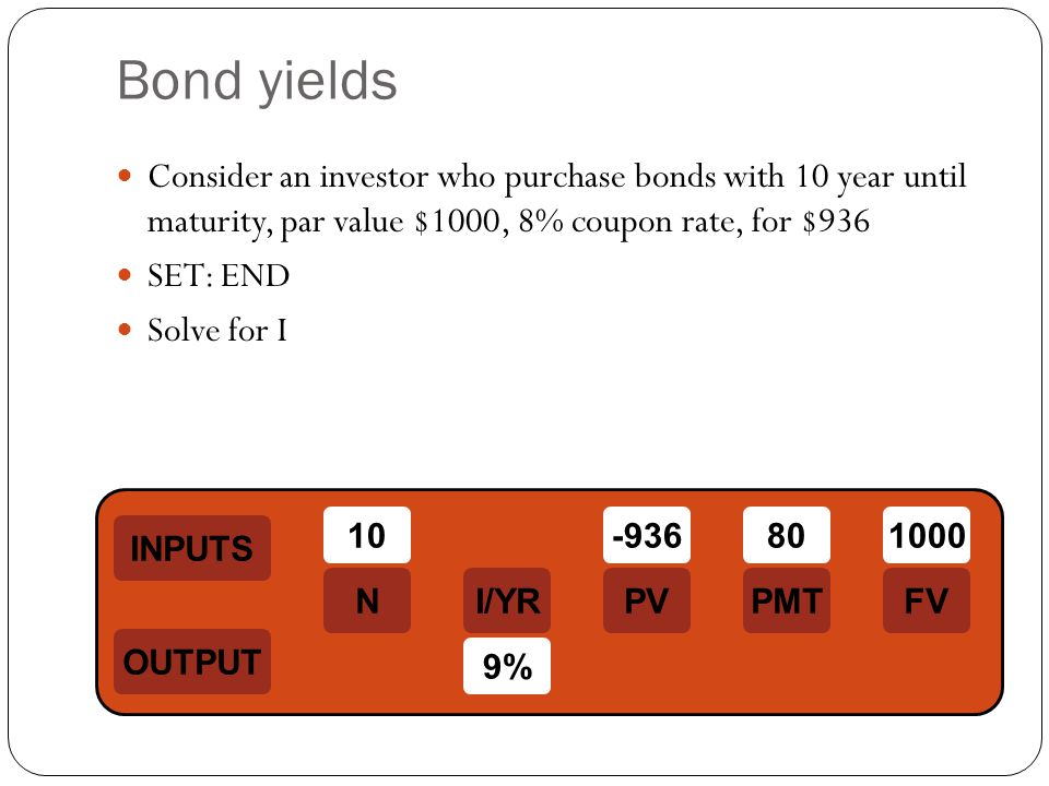 Bond yields Consider an investor who purchase bonds with 10 year until maturity, par value $1000, 8% coupon rate, for $936.