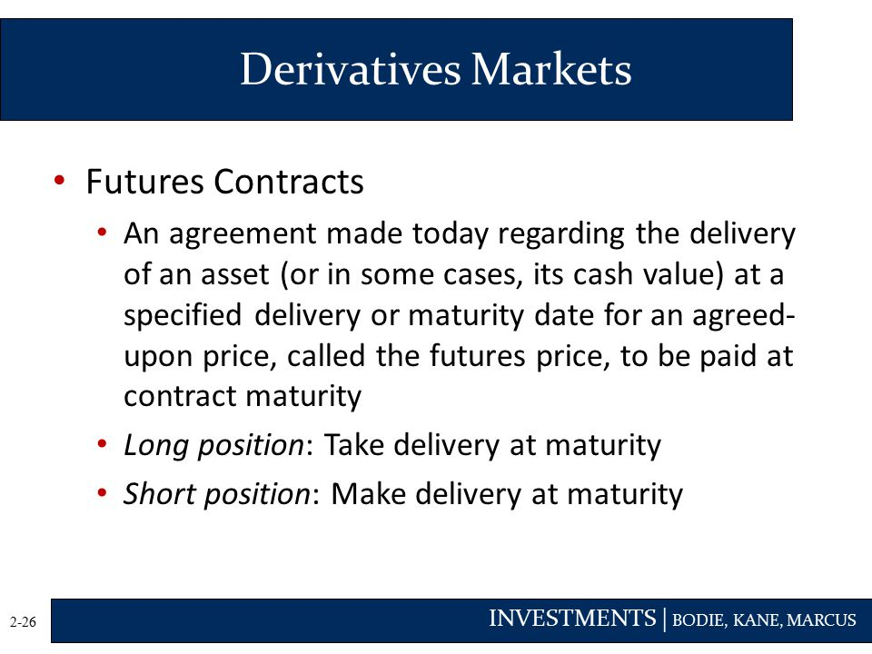 Derivatives Markets Futures Contracts