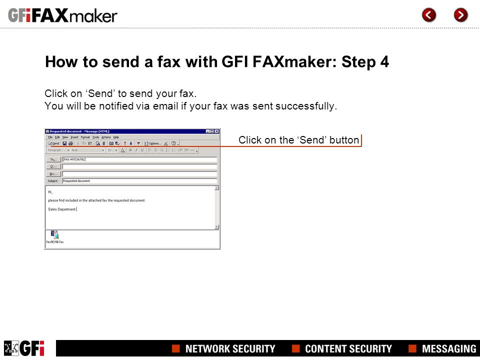 How to send a fax with GFI FAXmaker: Step 4