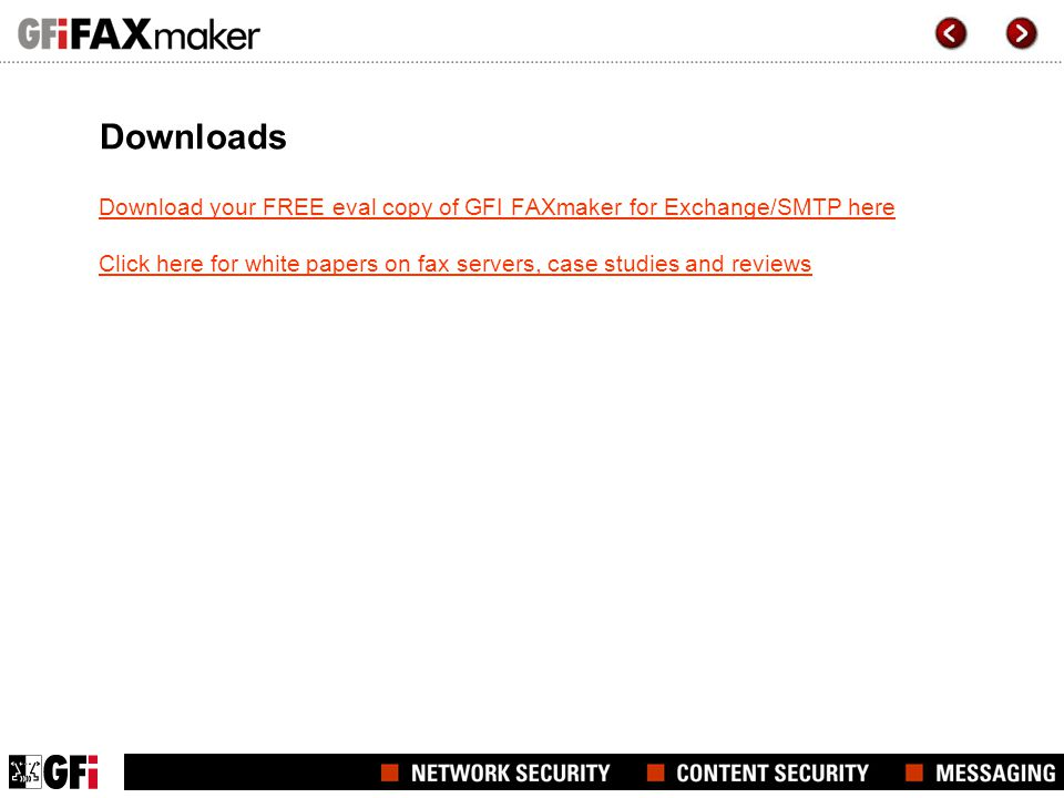Downloads Download your FREE eval copy of GFI FAXmaker for Exchange/SMTP here.