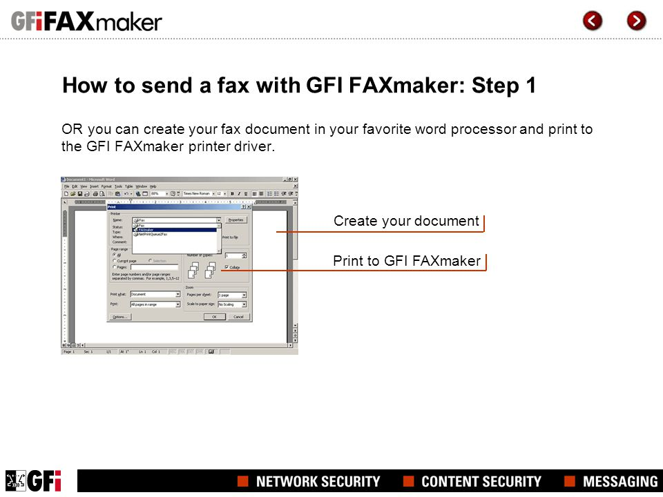 How to send a fax with GFI FAXmaker: Step 1