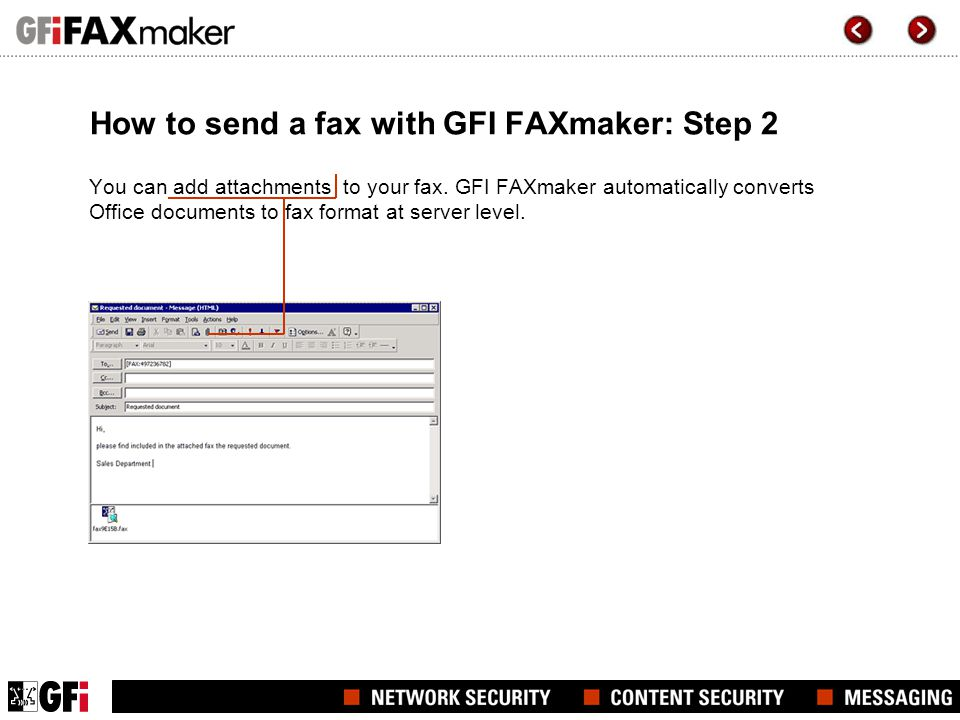 How to send a fax with GFI FAXmaker: Step 2