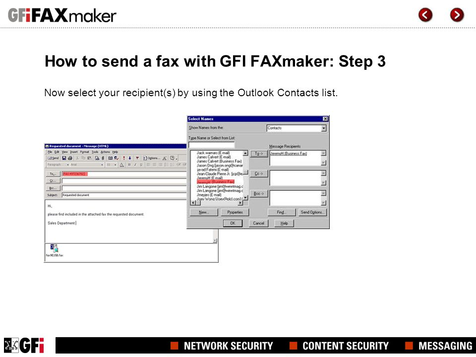 How to send a fax with GFI FAXmaker: Step 3