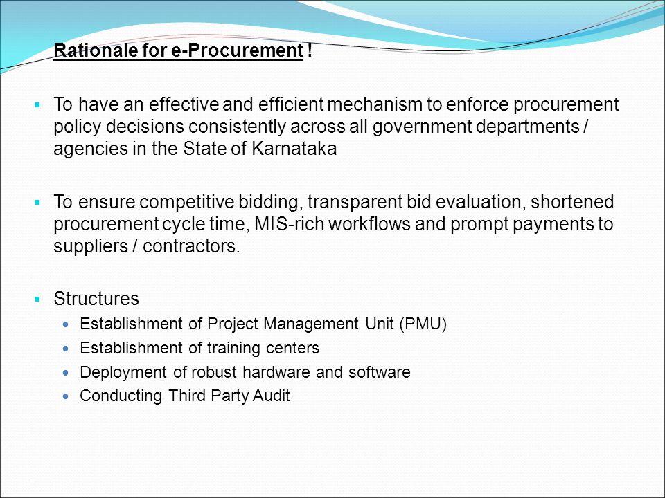 Rationale for e-Procurement !