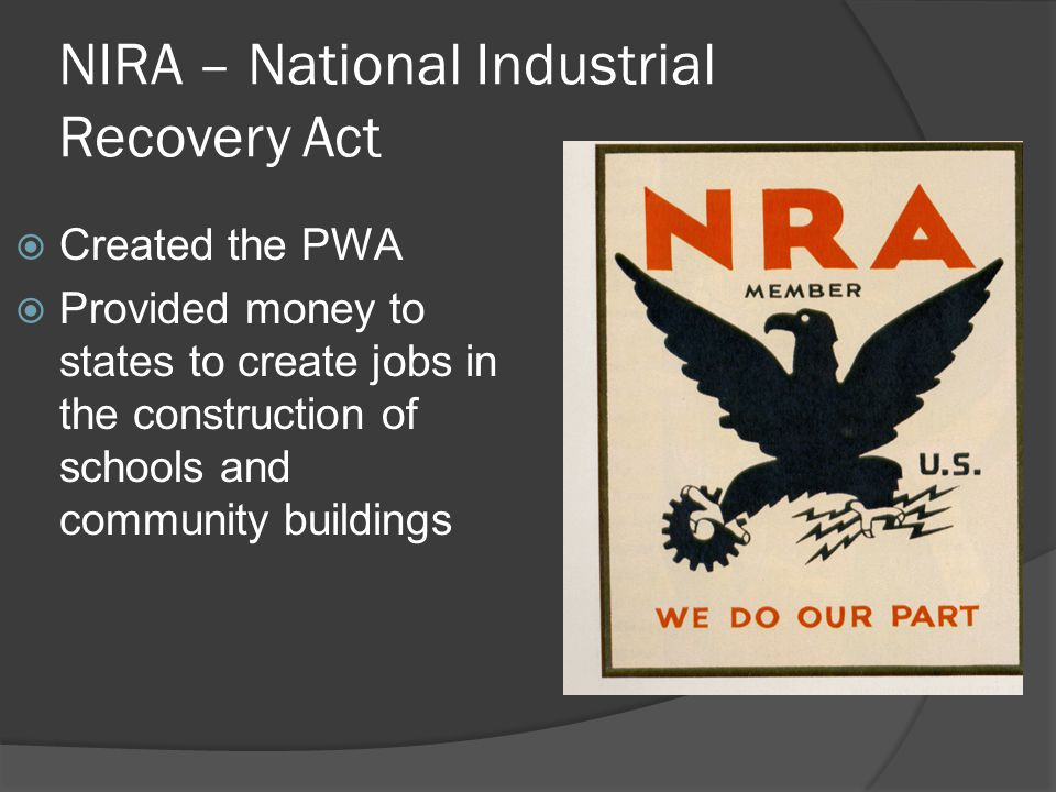 NIRA – National Industrial Recovery Act
