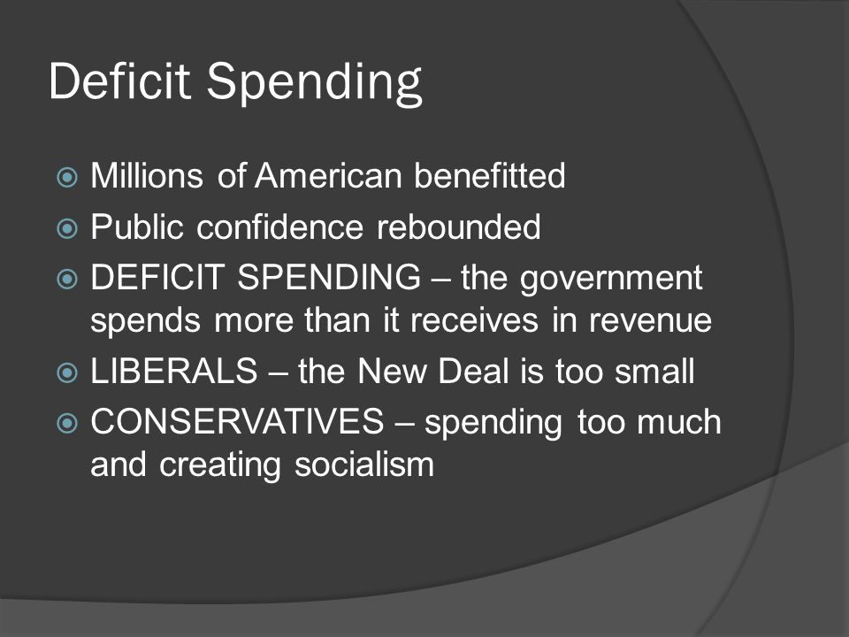 Deficit Spending Millions of American benefitted