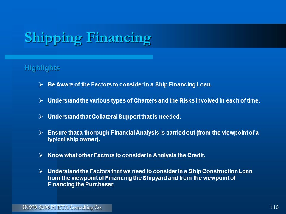 Shipping Financing Highlights