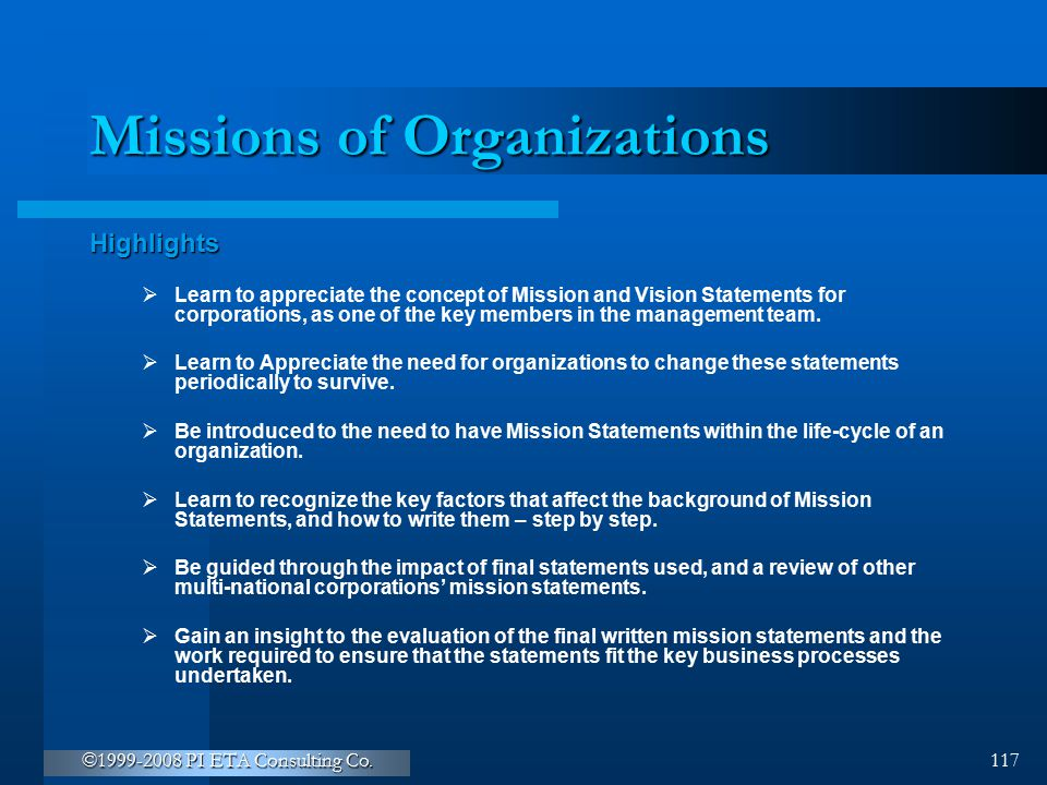 Missions of Organizations