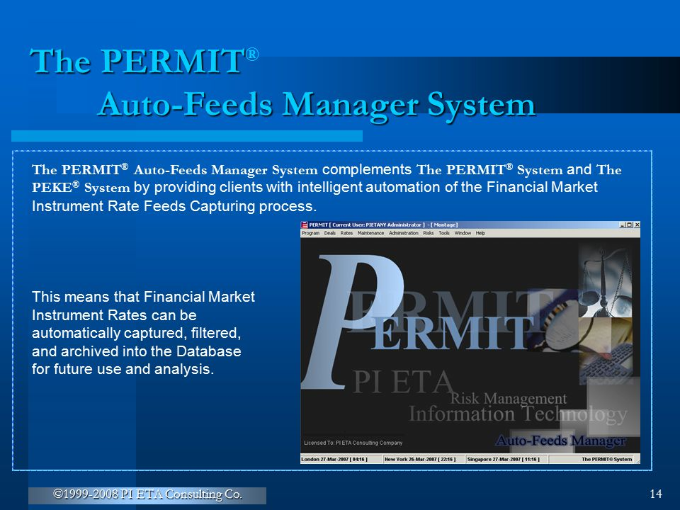 The PERMIT Auto-Feeds Manager System