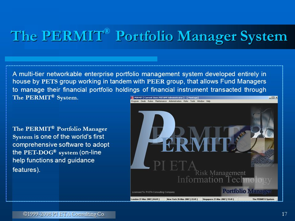The PERMIT Portfolio Manager System