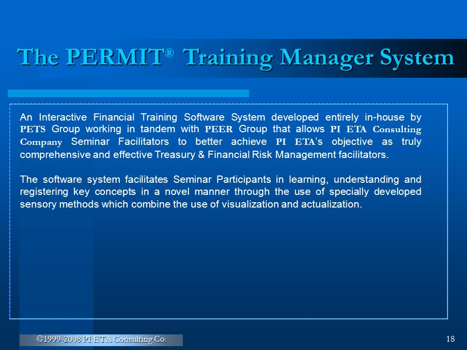The PERMIT Training Manager System