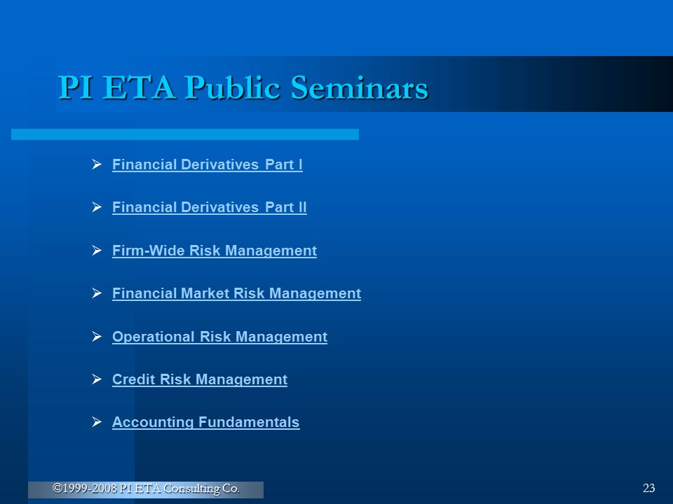 PI ETA Public Seminars Financial Derivatives Part I