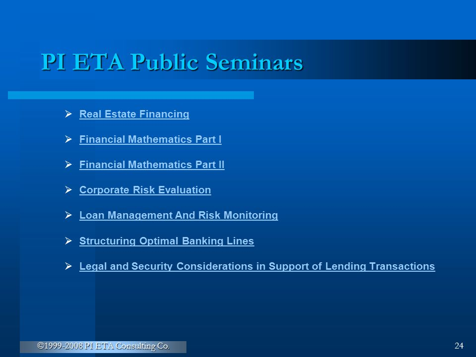 PI ETA Public Seminars Real Estate Financing