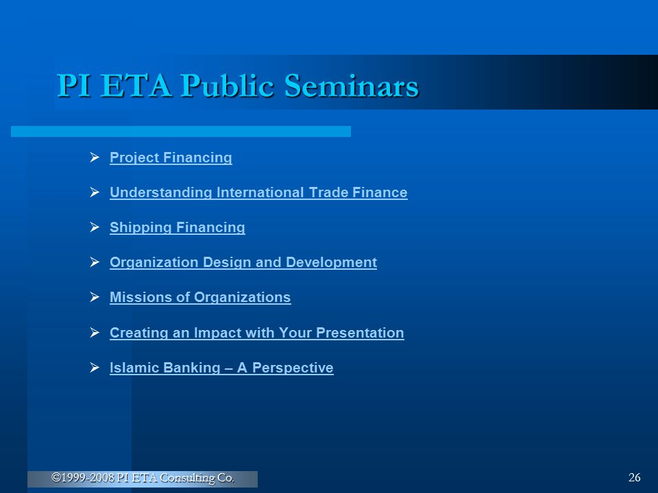 PI ETA Public Seminars Project Financing