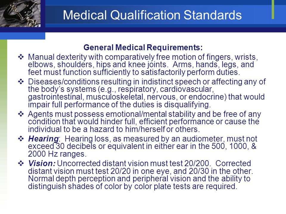 Medical Qualification Standards