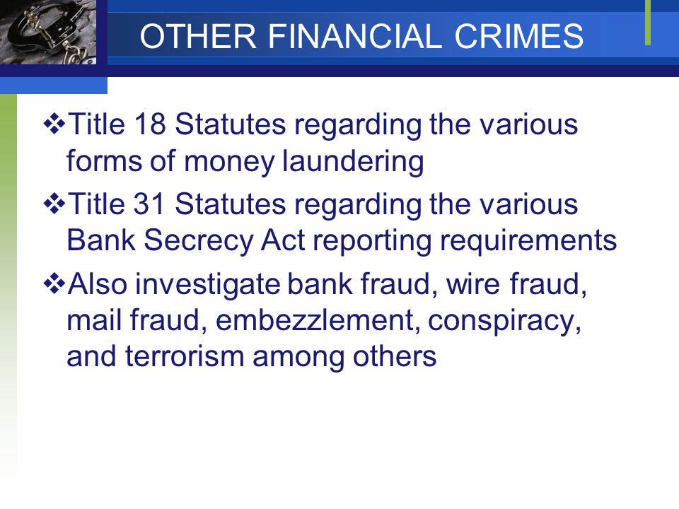 OTHER FINANCIAL CRIMES