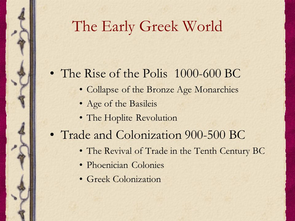 The Early Greek World The Rise of the Polis 1000-600 BC