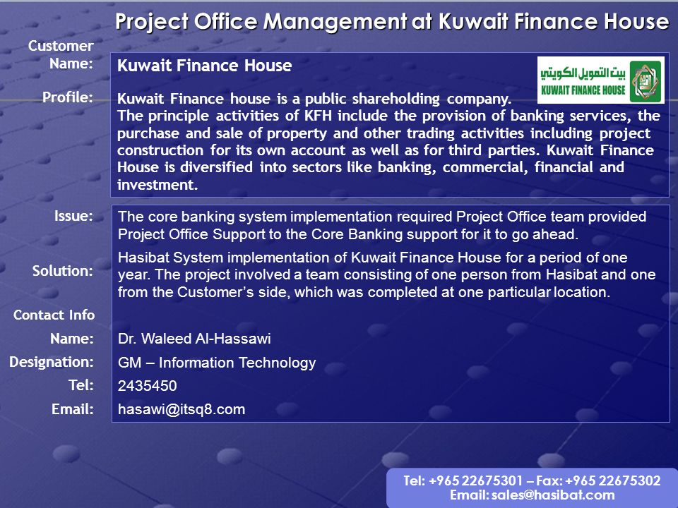 Project Office Management at Kuwait Finance House