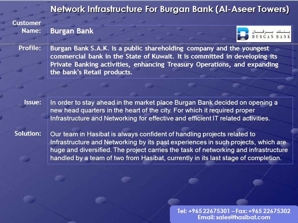 Network Infrastructure For Burgan Bank (Al-Aseer Towers)